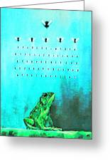 Frog With Flies In Space Invaders Formation Greeting Card by Fabrizio Cassetta