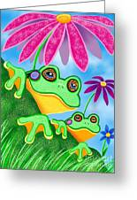 Froggies And Flowers Greeting Card