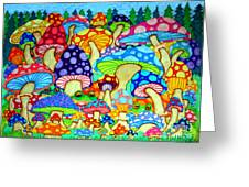 Frogs And Magic Mushrooms Greeting Card