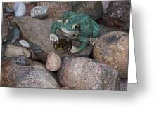 Frogs Imitation And Real  Greeting Card