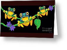 Frogs On Vines Greeting Card