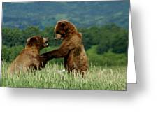 Frolicking Grizzly Bears Greeting Card