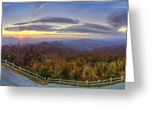 From The Top Of Brasstown Bald Greeting Card by Debra and Dave Vanderlaan