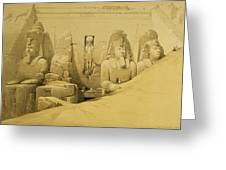 Front Elevation Of The Great Temple Of Aboo Simbel Greeting Card by David Roberts
