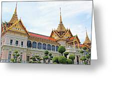 Front Of Reception Hall At Grand Palace Of Thailand In Bangkok Greeting Card