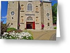 Front Of Sainte-famille Church On Ile D'orleans-qc Greeting Card