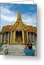 Front Of Thai-khmer Pagoda At Grand Palace Of Thailand In Bangkok Greeting Card