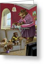 Front Room Bear Family Son Playing Computer Game Greeting Card