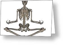 Front View Of Human Skeleton Meditating Greeting Card