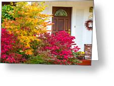 Front Yard Autumn Decor, Quincy California Greeting Card