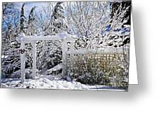 Front Yard Of A House In Winter Greeting Card