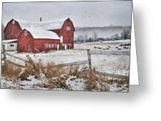 Frosted Hay Bales Greeting Card