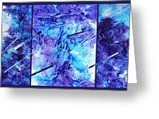 Frozen Castle Window Blue Abstract Greeting Card