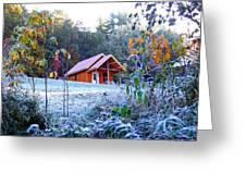 Frosty Cabin Greeting Card