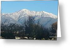 Frosty Mountain Top View From Rancho Cucamonga Ca. Greeting Card
