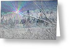 Frosty Window Distant Sun Greeting Card