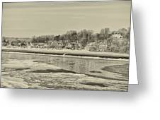 Frozen Boathouse Row In Sepia Greeting Card