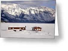Lake Minnewanka, Alberta - Banff - Frozen Docks Greeting Card