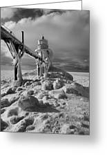 Frozen Grand Haven Lighthouse Black And White Greeting Card