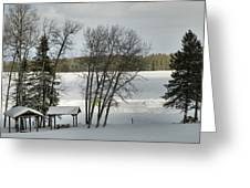 Frozen Lake Fishing Greeting Card