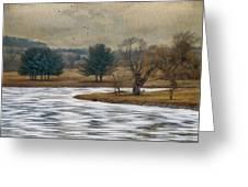 Frozen Lake Greeting Card by Kathy Jennings