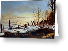 Frozen Lake Near Ste. Adele Greeting Card
