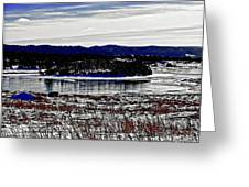 Frozen Pond Digital Painting Greeting Card