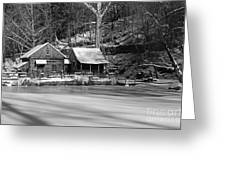 Frozen Pond In Black And White Greeting Card