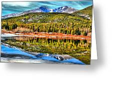 Frozen Reflection On Lily Lake Greeting Card by Rebecca Adams