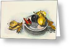 Fruit And Autumn Leaves Greeting Card