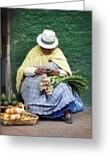 Fruit And Vegetable Vendor Cuenca Ecuador Greeting Card
