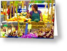 Fruit And Vegetable Vendor Roadside Food Stall Bazaars Grocery Market Scenes Carole Spandau Greeting Card