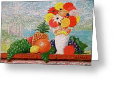Fruit Flowers And Castle Greeting Card