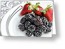 Fruit I - Strawberries - Blackberries Greeting Card by Barbara Griffin