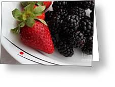 Fruit II - Strawberries - Blackberries Greeting Card by Barbara Griffin