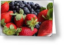 Fruit - Strawberries - Blueberries Greeting Card