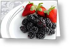 Fruit V - Strawberries - Blackberries Greeting Card