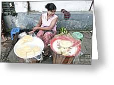 Fruit Vendor On Street Yangon Myanmar Greeting Card