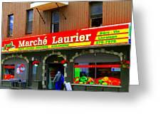 Fruiterie Marche Laurier Butcher Boulangerie De Pain Produits Quebec Market Scenes Carole Spandau  Greeting Card