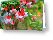 Fuchsia Blooms With Scripture Greeting Card