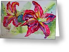 Fuchsia Lilies Greeting Card by Terri Maddin-Miller