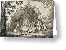 Fuegans In Their Hut, 18th Century Greeting Card
