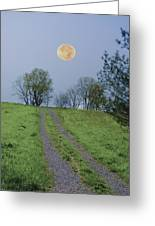 Full Moon And A Country Road Greeting Card