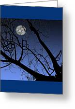 Full Moon And Black Winter Tree Greeting Card