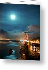 Full Moon And Fog Over The Golden Gate Bridge Greeting Card