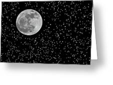 Full Moon And Stars Greeting Card