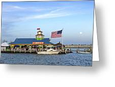 Full Moon At The Jetty Greeting Card
