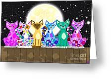 Full Moon Felines Greeting Card