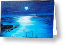 Full Moon Harbor Greeting Card