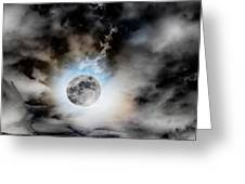 Full Moon  In Stormy Sky Greeting Card